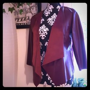 Maroon  leather and suede blazer